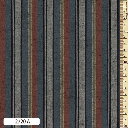 2720A striped shima momen cotton slate blue russett grey by the half metre
