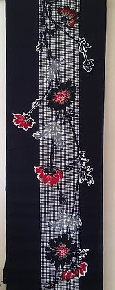 #YU006 vintage yukata cotton flowers on indigo