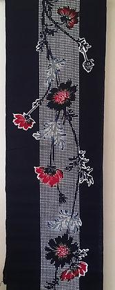 #YU006 vintage yukata cotton flowers on indigo