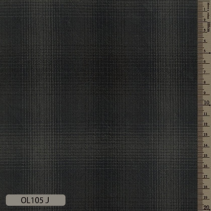 OL105J Sakizome Momen dark charcoal ombre plaid cotton by the half metre