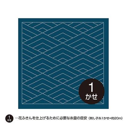 #H-2037 indigo blue sashiko hanafukin 'hishi seigaiha' diamond wave