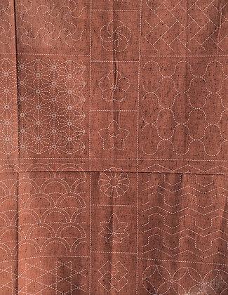 russet geometric sashiko panel