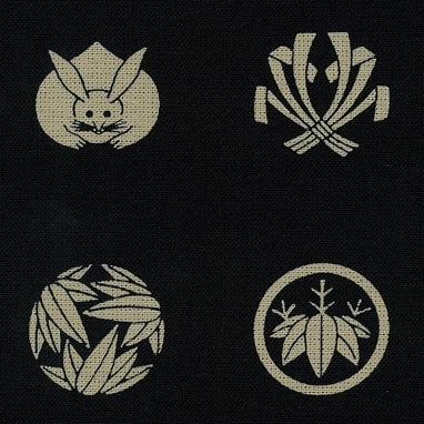 Takumi cotton little kamon crests (per half metre) in blue
