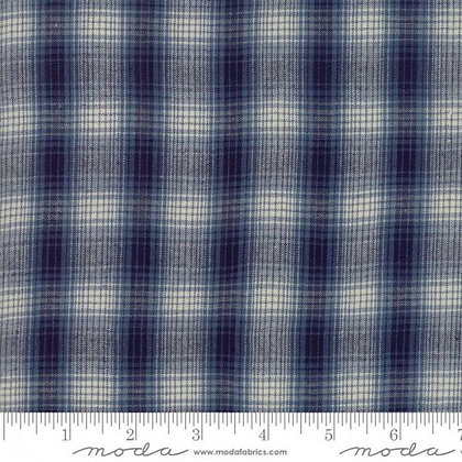 'Boro Wovens' yarn dyed cotton by Moda - blue plaid