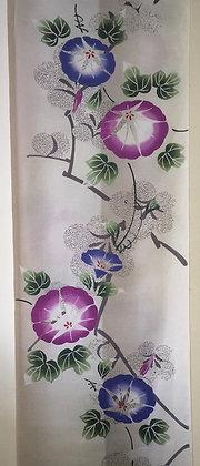 #YU015 vintage yukata cotton morning glories on pale taupe