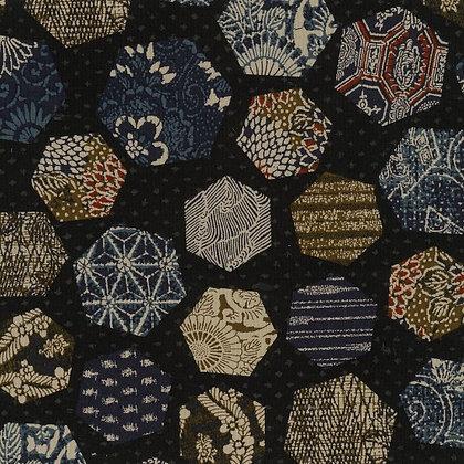 'Sekuta' INDIGO BLUE Japanese patchwork print hexagons