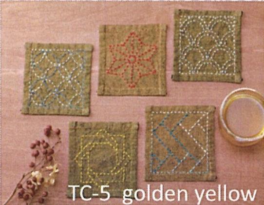 #TC-5 golden yellow sashiko coaster panel only