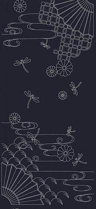 QH101A 'Autumn Sky' sashiko panel INDIGO