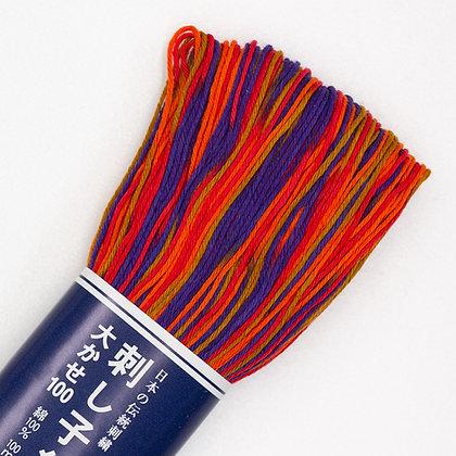 #174 retro flame shaded 100m medium sashiko thread