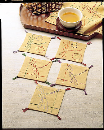 #SASHIKO160  yellow ochre sashiko coaster kit 'tombo' dragonflies