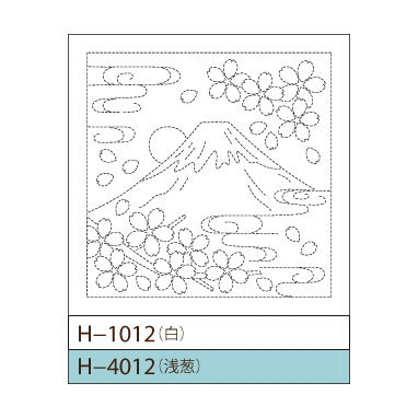 #H-4012 light blue sashiko hanafukin panel 'fujisan to sakura'