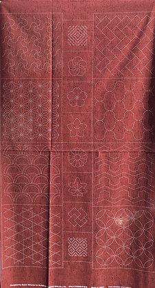 brick red geometric sashiko panel