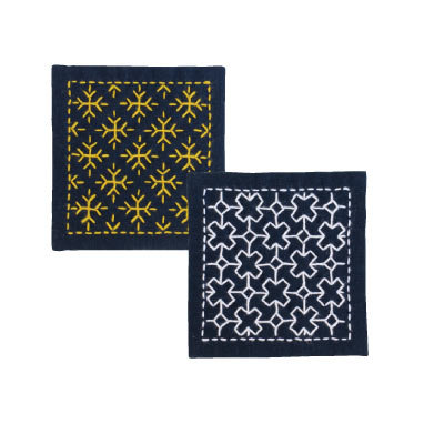 #SK300  indigo blue hitomezashi sashiko coaster kit