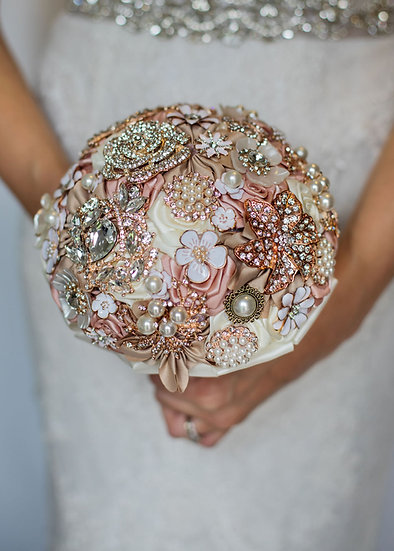 For Sale - Brooch Bouquet Rose Gold, Blush & Champagne Posy Style