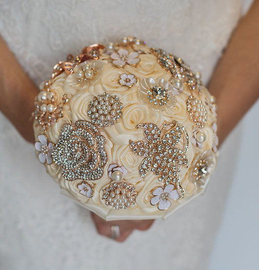 For Sale - Brooch Bouquet Rose Gold & Ivory Posy Style