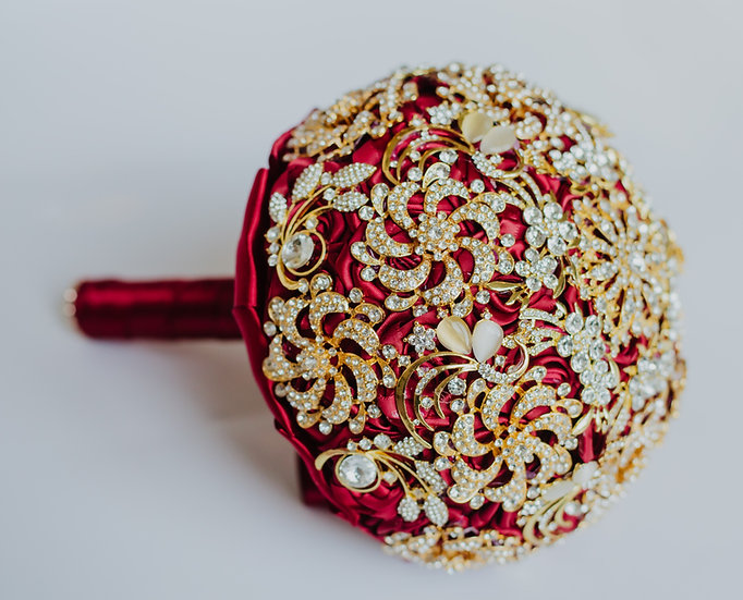 For Sale - Brooch Bouquet Red Posy Style
