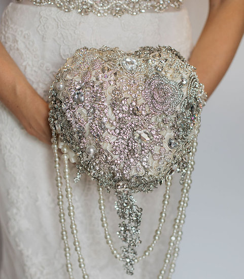 For Sale - Brooch Bouquet Heart Style with Drop Pearls