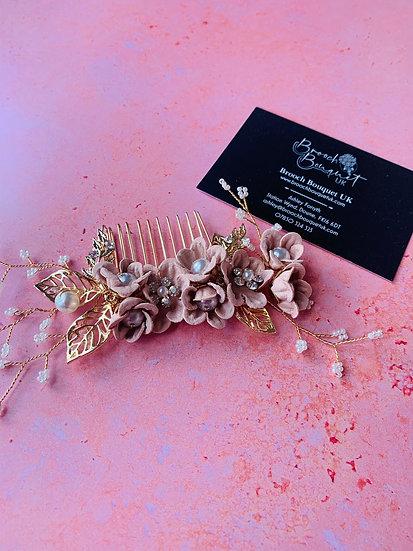 Rose Gold Floral Hair Slide