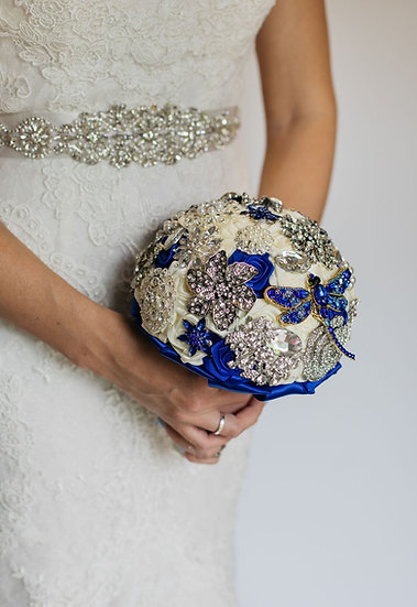 For Sale - Brooch Bouquet Blue Posy Style