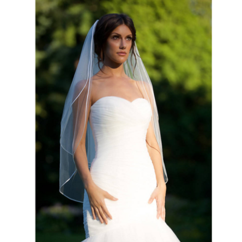 2 Tier Fingertip Veil with Satin Trim