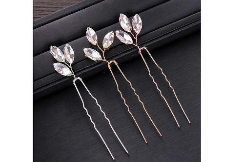 Oval Crystal Hair Pins (3)