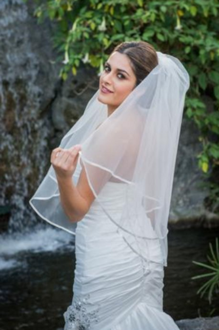 Two Tier Fingertip Veil with Satin Trim