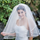 Thumbnail: Two Tier Fingertip Veil with Satin Trim
