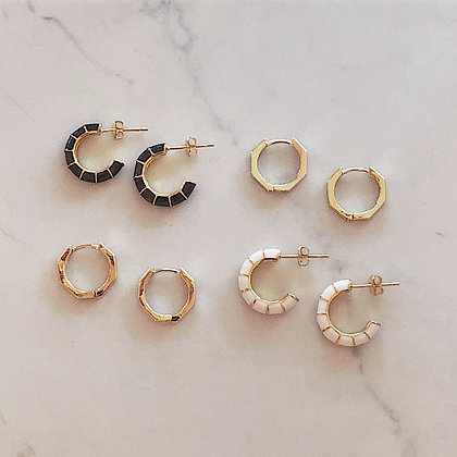 B&W GOLD HOOPS
