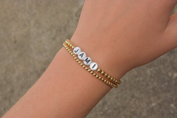 Personalized Gold Ball Bracelets