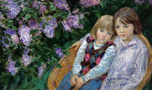 Fedor Olevskiy. Portrait of the artist's sons under a lilac.