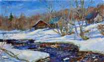 Fedor Olevskiy. Bathhouses on the Pidma River, end of March
