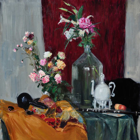 Fedor Olevskiy. Still life with Flowers and Musical Instruments