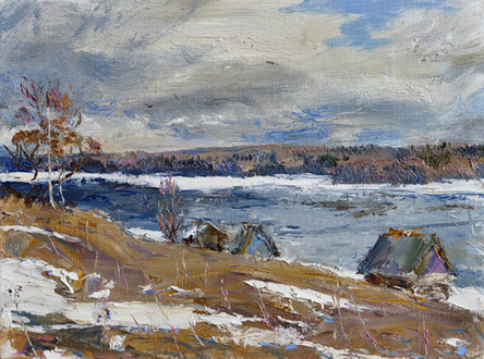 Fedor Olevskiy. A windy April day on the River Svir