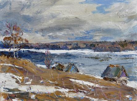 Fedor Olevskiy. A windy April day on the River Svir