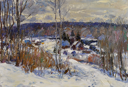 Fedor Olevskiy. Frosty March. View of the village of Soginitsa