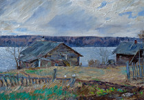 Fedor Olevskiy. Old houses with barns on the bank of the Svir River