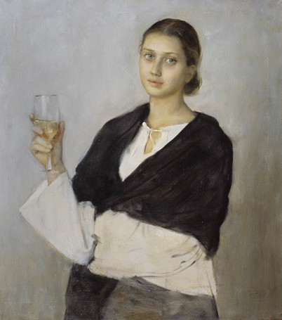 Fedor Olevskiy. Girl with a Glass of Wine