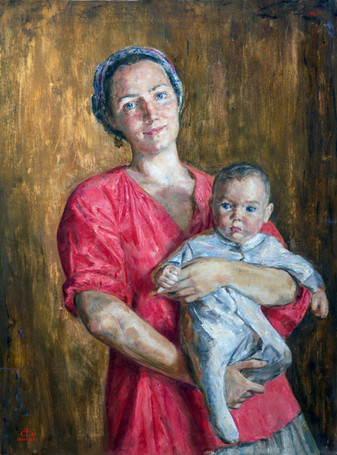 Fedor Olevskiy. Portrait of the artist's wife with a child.