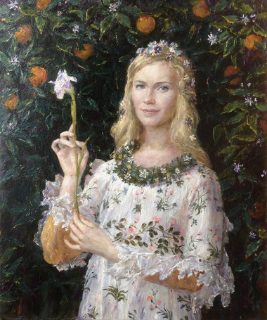 "Fedor Olevskiy. Portrait of Anna Mozhaeva as ""the Pimavera"" by Botticelli"