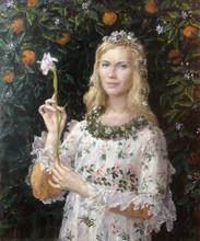"""Fedor Olevskiy. Portrait of Anna Mozhaeva as """"the Pimavera"""" by Botticelli"""