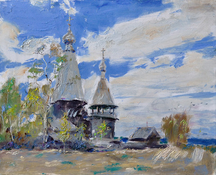 Fedor Olevskiy. Old churchyard with a church in the village of Gimreka