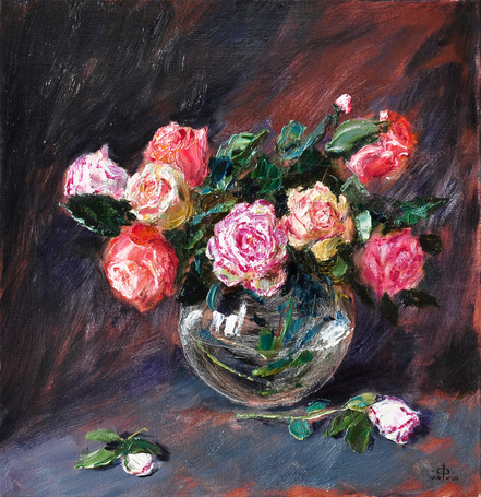 Fedor Olevskiy. Roses in a Glass Vase