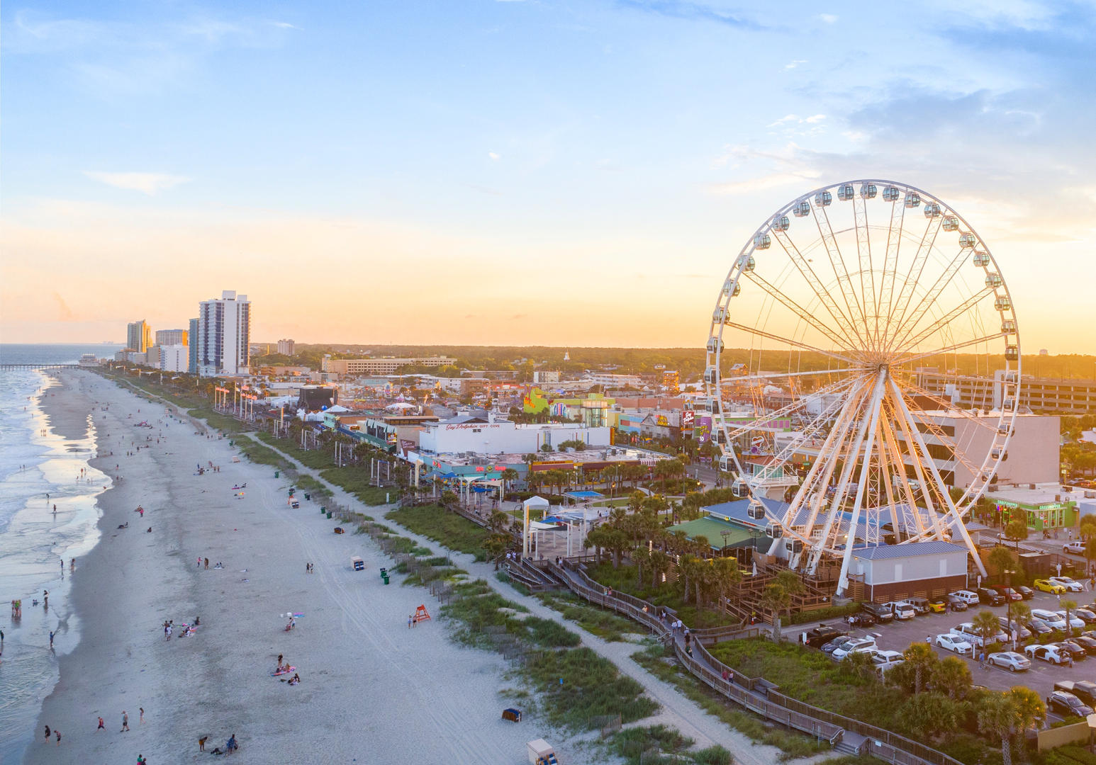 Myrtle Beach Sky Wheel from a drone's perspective.