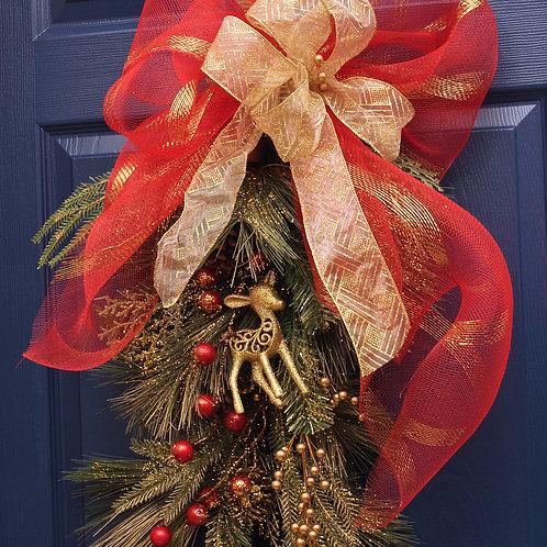 DÉCO-N - Gerbe de Noël murale avec renne doré
