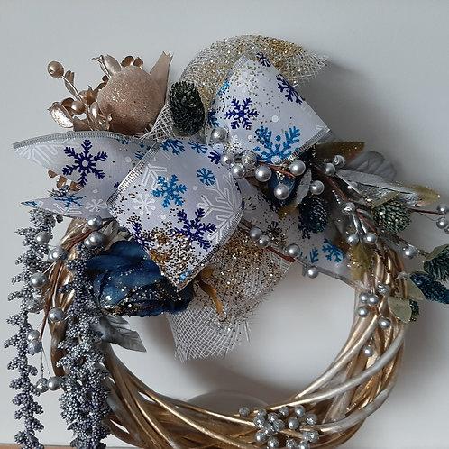 Couronne de Noël - ruban flocons de neige