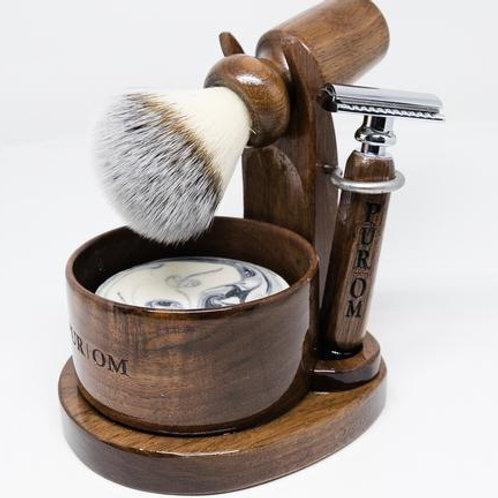 POM1964 - Ensemble bol, support, blaireau, rasoir, lames et crème à raser