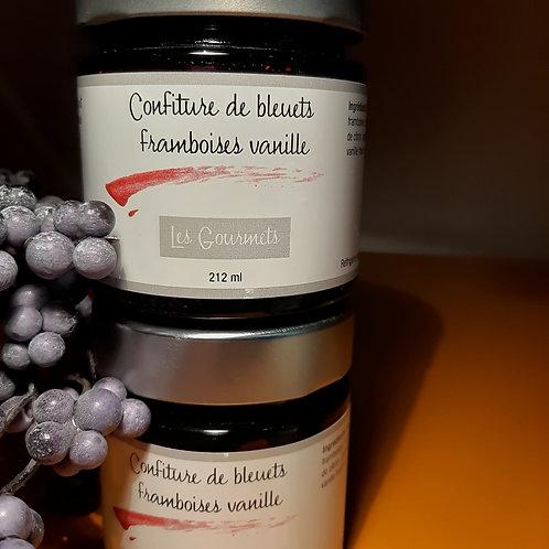 Confiture de bleuets framboises vanille fraîche