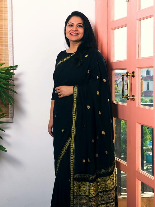 black trendy handloom cotton eri silk saree by arras for evening wear