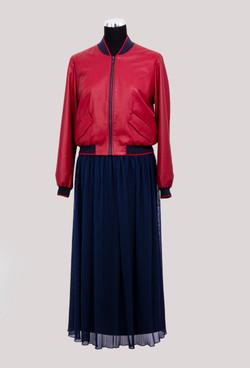 Бомбер кожаный и юбка