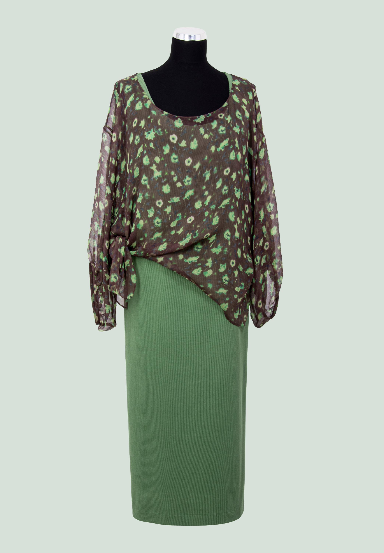 блузон шелковый и трикотажное платье